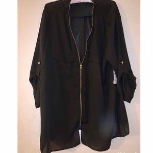 Charlotte Russe Chiffon Front Zip blouse 3XL NWT